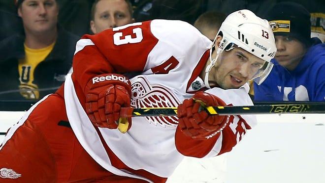 Detroit Red Wings forward Pavel Datsyuk fires a shot against the Boston Bruins on April 18, 2014.