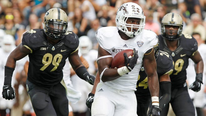Western Michigan's Jarvion Franklin runs for a touchdown against Purdue during an NCAA college football game Saturday, Aug. 30, 2014, in West Lafayette, Ind. Purdue won 43-34. (AP Photo/Journal & Courier, John Terhune) NO SALES