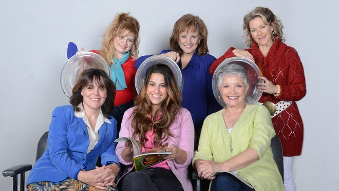 The cast of the Scottsdale Community Players production of 'Steel Magnolias' at Stagebrush Theatre.  L to R from top row: Ashley Faulkner as Annelle, Laura Durant as Clairee, Jodie Weiss as Truvy. L to R â?? Bottom Row: Maureen Dias as Mâ??Lynn, Jamie Sandomire as Shelby, Patti Davis Suarez as Ouiser.