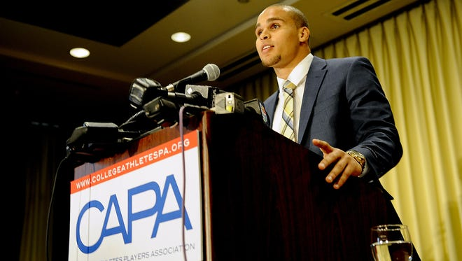 Northwestern University quarterback Kain Colter speaks during a press conference for CAPA College Athletes Players Association at the Hyatt Regency.