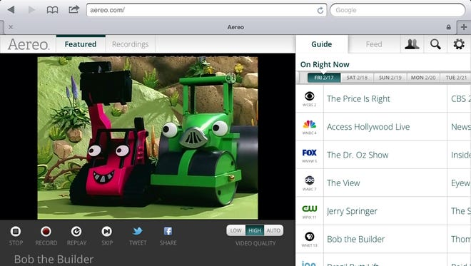 A screenshot from the iPad showing Aereo.com streaming Bob the Builder.