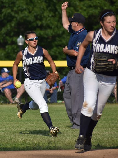 Chambersburg's Taylor Myers (left) makes a catch in