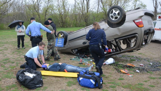 Students studying law enforcement and emergency medical response are called to a mock drunk driving crash.