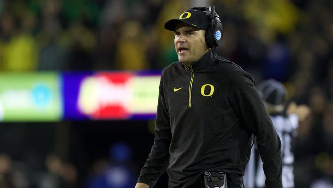 Nov 7, 2015; Eugene, OR, USA; Oregon Ducks head coach Mark Helfrich walks on the side line between plays against the California Golden Bears at Autzen Stadium. Mandatory Credit: Scott Olmos-USA TODAY Sports