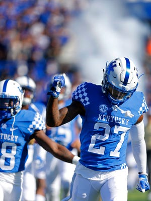 Kentucky's Mike Edwards comes onto the field before the game.Oct. 8, 2016