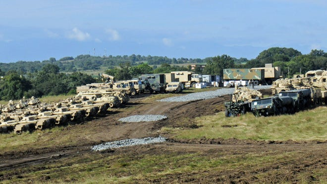 Vehicles belonging to the 116th Cavalry Brigade Combat Team are positioned at the Romanian Land Force Combat Training Center (RLF-CTC) in Cincu, July 7, 2016 prior to the start of Exercise Saber Guardian 2016. The vehicles arrived in Romania on June 19 at the Port of Constanta and were shipped via railhead to Cincu. Saber Guardian is a U.S. Army Europe-led exercise, in the spirit of Partnership for Peace. It is designed to promote regional stability and security, while strengthening partnership capacity, and fostering trust while improving interoperability between Romania, the U.S., NATO and Partnership for Peace member nations. The 116th CBCT is one of the U.S. units participating in the exercise, which will also include forces from 11 different countries.