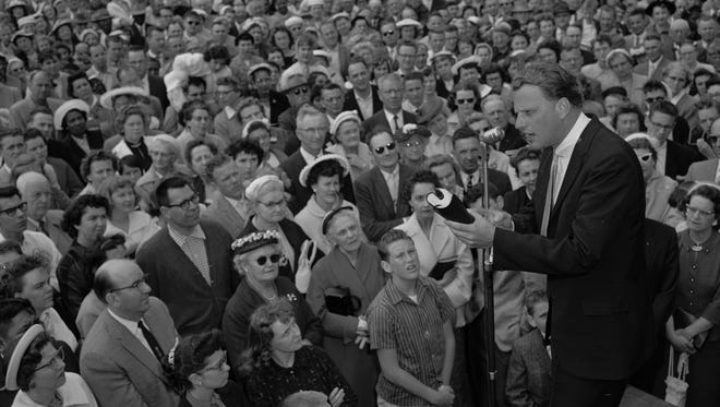 Evangelist Billy Graham at a crusade on April 27, 1959.
