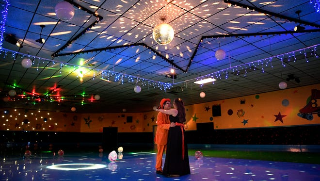 Logan Scheivert, 18, and his girlfriend Samantha Storm, 19, share the dance floor alone during Sheivert's own prom, Sunday, May 27, 2018. John A. Pavoncello photo