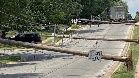 About 2,400 Evergy customers in eastern Blue Springs lost power Thursday afternoon after a tractor-trailer accidentally snagged an overhead wire while turning onto Sunnyside School Road to head north toward R.D. Mize Road. The domino effect caused nine power poles to break near the base and fall onto the street past Summit Drive. Crews were able to restore power through the afternoon and overnight hours. Many customers had power restored within a couple hours because crews looped power to a different circuit. Comcast crews continued to repair wires Friday.