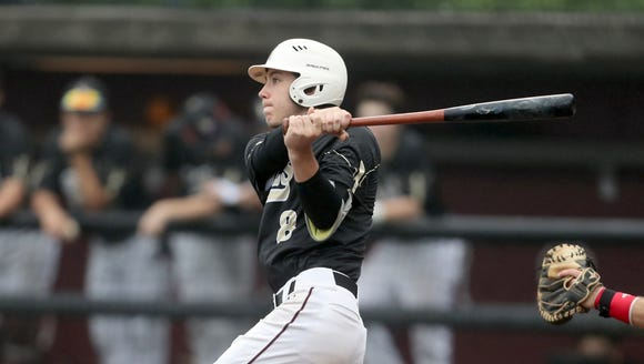 Iona Prep's Anthony Defabbia (8) connects for a double