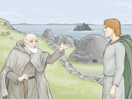 """Artwork from """"The Last Monks of Skellig Michael,"""" a"""