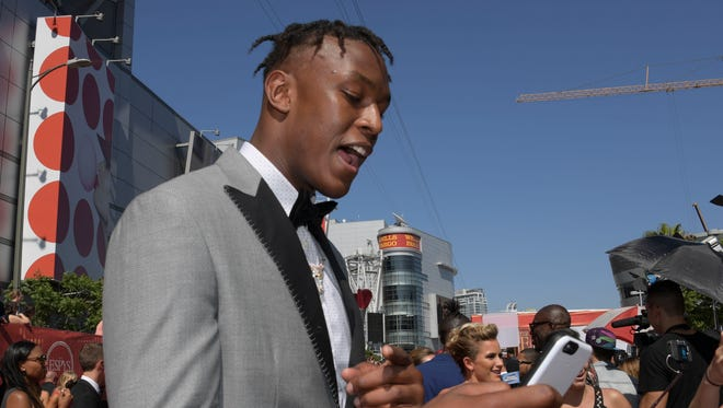 Jul 13, 2016; Los Angeles, CA, USA; Indiana Pacers player Myles Turner arrives on the red carpet for the 2016 ESPY Awards at Microsoft Theater. Mandatory Credit: Kirby Lee-USA TODAY Sports