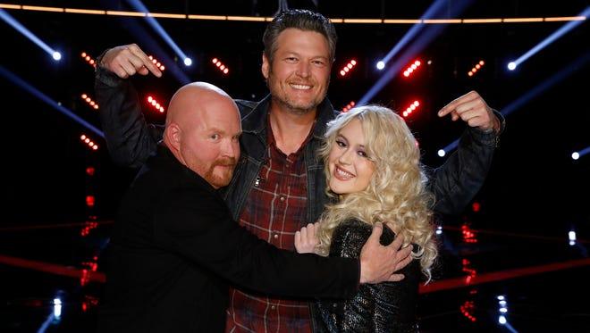 "THE VOICE -- ""Live Semi Finals"" Episode 1320B -- Pictured: (l-r) Red Marlow, Blake Shelton, Chloe Kohanski -- (Photo by: Trae Patton/NBC)"