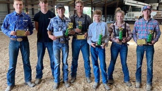 Scramble winners of 2019 showed their hard work over the season Saturday at the Logan County Fairgrounds. From left are: Cullen Tyson, Conner Adams , Griffen Turner, Adam Horbert, James Byrd, Jami-Lynn Hild and Sam Schadt.