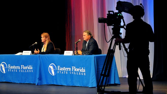 County Commission District 1 candidates Rita Pritchett and Ron Taylor speak at Eastern Florida State College in Cocoa on Thursday, Oct. 20, 2016.