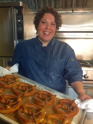 Jackie Mazza and freshly-made German-style pretzels.