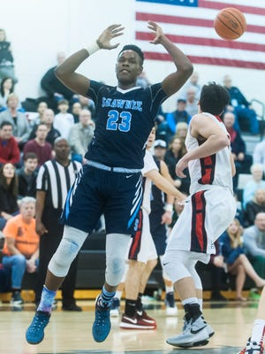 Shawnee forward Daevon Robinson reacts to a play in the Group 4 state semifinal against Hunterdon Central.