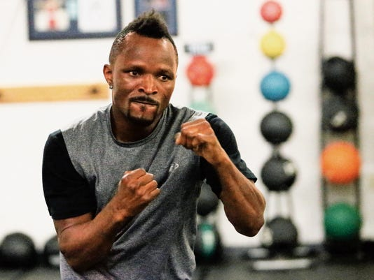 Rudy Gutierrez—El Paso Times Joseph Agbeko, former world title holder in the bantamweight division, shadow boxes during a light workout at Wolves Den Gym at 1010 Wall St. Thursday.