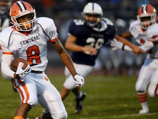 Central York's Shyheim Goff puts on the moves to get past the West York defense just before scoring on a 30-yard pass play during Friday night's season opener at West York. Goff also led the Panthers in rushing with 12 carries for 49 yards as Central earned a 31-28 victory.