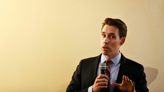 Josh Hawley speaks during a debate in Springfield last October during the race for Missouri attorney general.