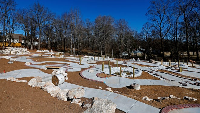 An overview of the construction site of miniature golf course Getaway Golf in Springfield, Mo. on Feb. 16, 2017.