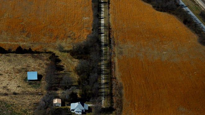 Farm fields near Aurora, Mo. as seen from the air on Feb. 15, 2017.
