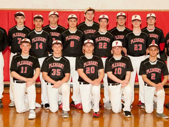 The Pleasant 2015 varsity baseball team is, front row from left, Bryce Pytlarz, Kyle Galyk, Caden Lawrence, Chase Ambrose and Demetri Hernandez. Second row is Matt DePuy, Dustin Sites, Matt Gabriel and Cole Marvin. Back row is head coach Chris Kubbs, Zach Pytlarz, Bryce McDonald, Tyler Axline, Alex Cook Anson James and coach Bruce Lawrence.