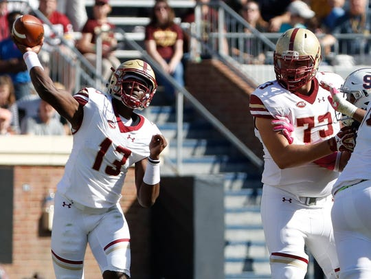 Boston College Eagles quarterback Anthony Brown (13)