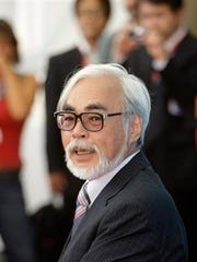 "Filmmaker Hayao Miyazaki poses at the photo call for the movie ""Gake No Ue No Ponyo"" at the 65th edition of the Venice Film Festival in Venice, Italy. An Oscar winner for his 2002 film ""Spirited Away,"" Miyazaki will accept an honorary Academy Award Saturday, Nov. 8, 2014, at the film academy's Governors Awards. Actress Maureen O'Hara, screenwriter Jean-Claude Carriere, and Jean Hersholt Humanitarian Award winner Harry Belafonte will also receive honorary Oscar statuettes at the private ceremony."