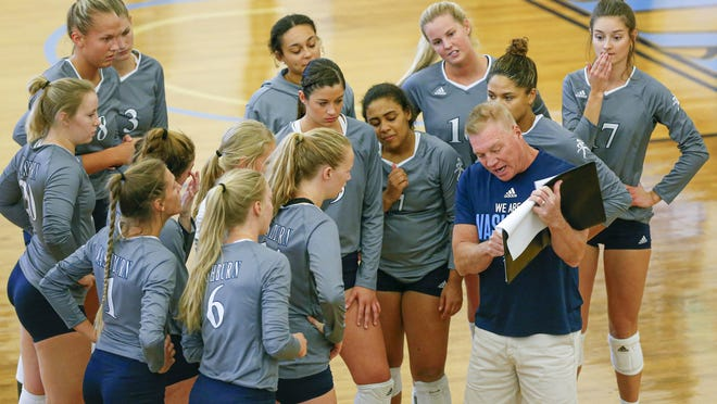Washburn volleyball coach Chris Herron goes over the game plan with his team prior to taking on West Texas A&M in the the Skyhawks Volleyball Classic last fall in Durango, Colo. The Ichabods will open the 2020 season at Fort Hays State on Sept. 18.