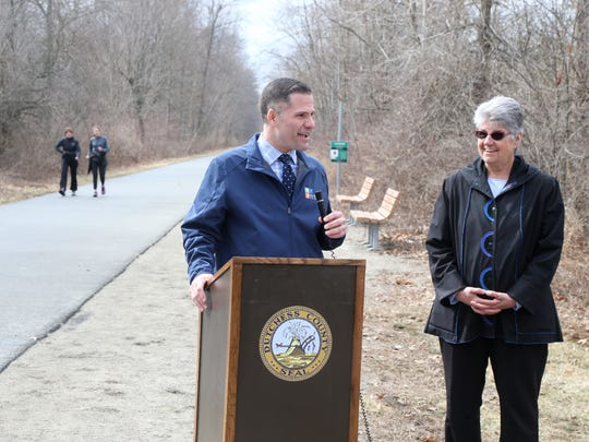 Dutchess County Executive Marc Molinaro and Dutchess Tourism Chief Executive Officer Mary Kay Vrba speak during Wednesday's announcement for the June 9 Run For Heroes.
