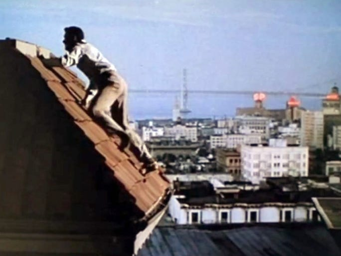 The rooftop-chase scene from the Alfred Hitchcock thriller was filmed on Taylor Street in Nob Hill. A cable-car ride is a scenic way to travel to the location.