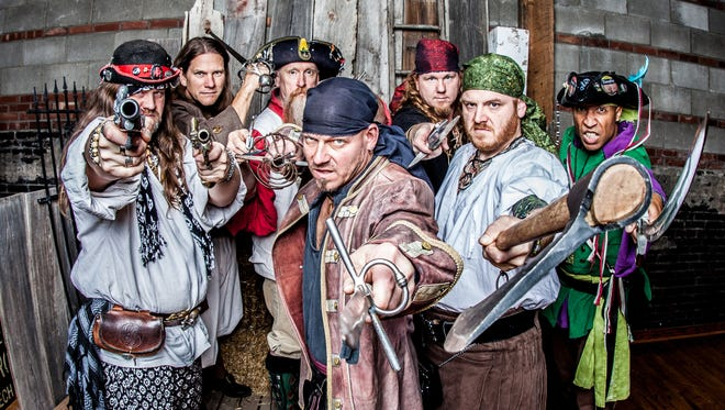 "Musical Blades is from left: Derrin Skorupan (Saxton), Joe Heller (Sven Helgrim), Michael Collier (Pappy McBeard), Albert Hall (Capt. Patch), Michael Doss (Saucy Jack), Ryan Irwin (Gunpowder Red) and Marty Johnson (Paddy ""Zulu"" O'Shea)."