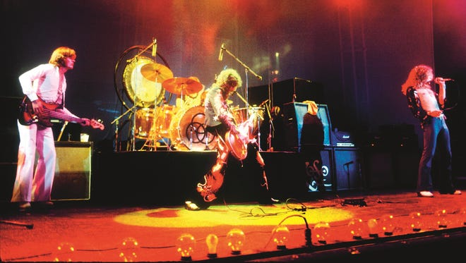 Led Zeppelin performs at London's Earls Court Arena in May 1975.