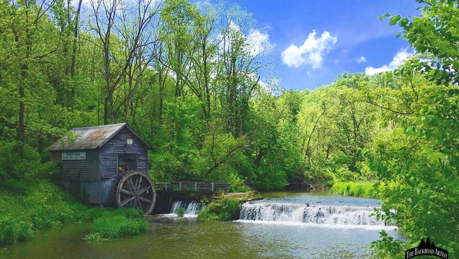 This painting highlights Hyde's Mill, which sits at the end of a winding road in Iowa County in Wisconsin's Driftless Region.
