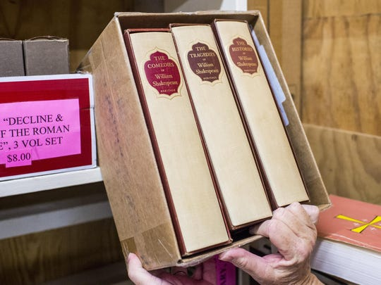 The complete works of William Shakespeare are pictured at the Lafayette Public Library's storage facility.