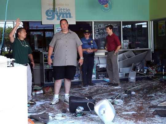 The aftermath inside The Little Gym after a 78-year-old Ledgewood woman lost control of her vehicle and crashed through the front window of the children gym located on Route 10 in Ledgewood. The business was only occupied by one employee at the time. No one was injured. June 21, 2016, Roxbury, NJ