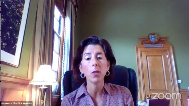 Gov. Gina Raimondo during Friday's Facebook Live event.