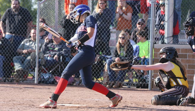 Lakota's Aspen Ray drives in Sam Miller with the walk-off run Wednesday against Old Fort.