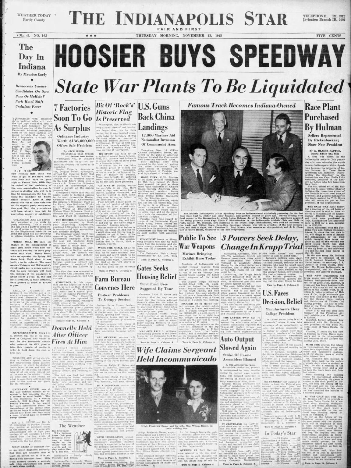 The Nov. 15, 1945, IndyStar announces the purchase