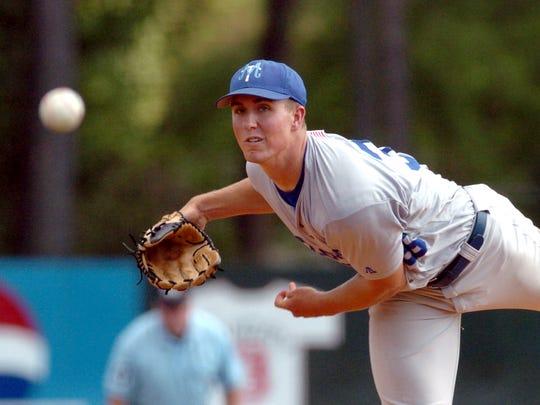Ken Roberts pitches for MTSU against Louisiana-Monroe in the 2008 Sun Belt Baseball Tournament.