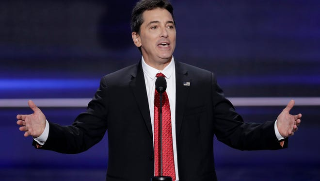 In a July 18, 2016 file photo, actor Scott Baio speaks during the opening day of the Republican National Convention in Cleveland. Baio is denying a claim made by his former 'Charles in Charge' co-star Nicole Eggert that something inappropriate happened between the two when she was a minor.