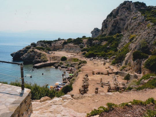 Swimmng at Heraion of Perachora, an archeological site along the Corinthian Gulf of Greece.