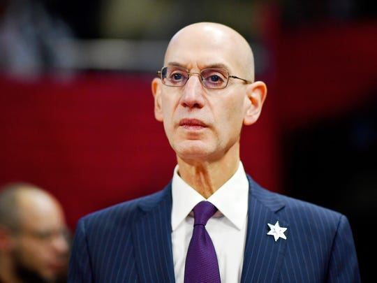 NBA Commissioner Adam Silver looks on during the NBA All Star Celebrity Game at Wintrust Arena on Feb. 14.