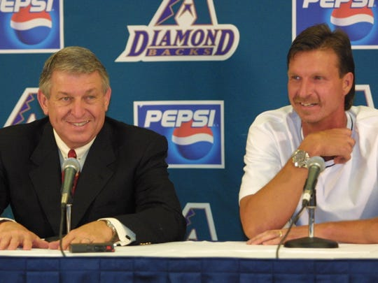 Randy Johnson (pictured with Jerry Colangelo in 2001) won four Cy Youngs in a row while with the Diamondbacks.