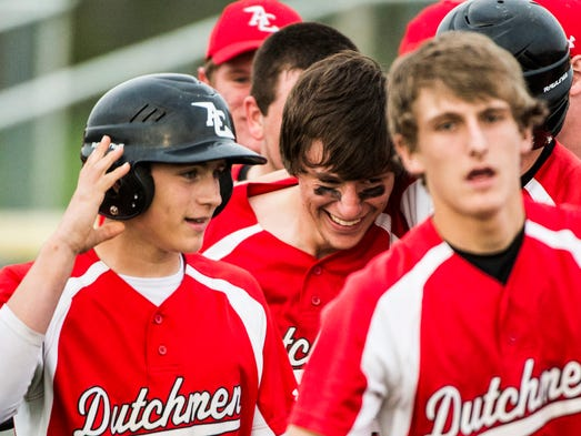 Annville-Cleona's Cameron Hoch is congratulated after