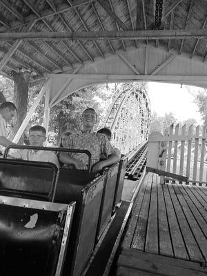 Enjoying the Cyclone at Lake Lansing Amusement Park, June 1967.