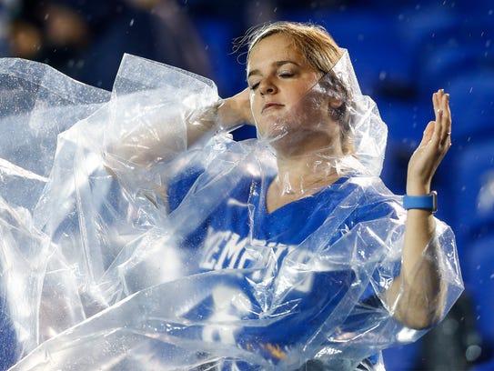 University of Memphis dances in the rain during third