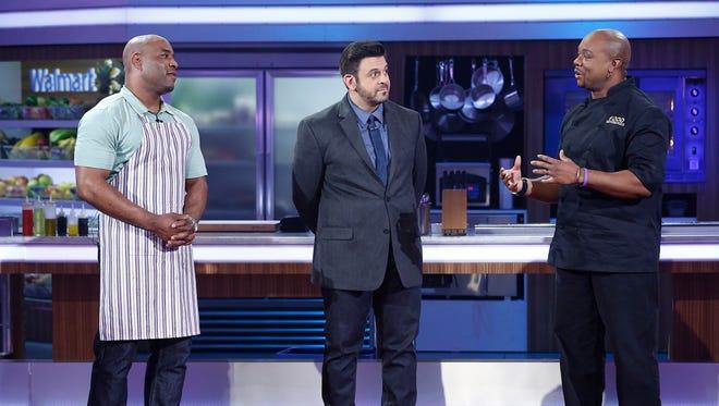 """Will Spencer (left), Adam Richman, Aaron McCargo Jr. star in an episode of """"Food Fighters.'"""