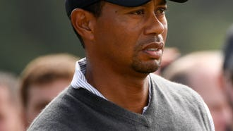 Tiger Woods on the eighth tee during the third round of The Open Championship golf tournament at Carnoustie Golf Links.